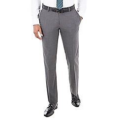 Racing Green - Grey textured jaspe wool blend plain front tailored fit suit trousers