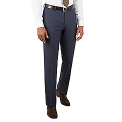 Racing Green - Navy tonal check tailored fit suit trousers