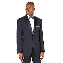 Racing Green - Navy jacquard tailored fit 1 button dress wear suit