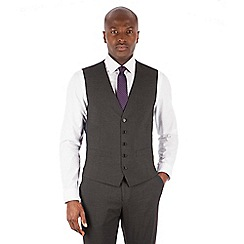 The Collection - Charcoal puppytooth 5 button front waistcoat