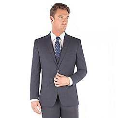 The Collection - Navy jaspe check tailored fit 2 button suit jacket