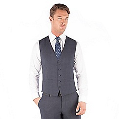 The Collection - Navy jaspe check 5 button front waistcoat