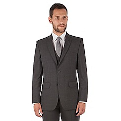 The Collection - Charcoal panama regular fit 2 button washable suit jacket
