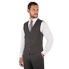 The Collection - Charcoal panama 5 button regular fit washable waistcoat