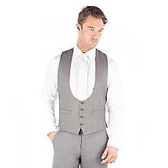 Occasions - Grey plain scoop 4 button waistcoat
