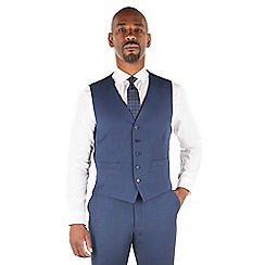 Centaur Big & Tall - Bright blue semi plain big and tall 5 button front suit waistcoat
