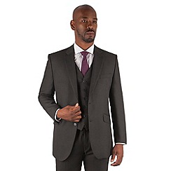 Centaur Big & Tall - Charcoal birdseye big and tall 2 button regular fit suit jacket