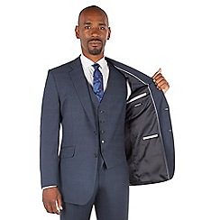 Centaur Big & Tall - Navy tonal check big and tall 2 button regular fit suit jacket