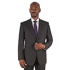 Centaur Big & Tall - Charcoal tonal check big and tall 2 button front regular fit suit jacket