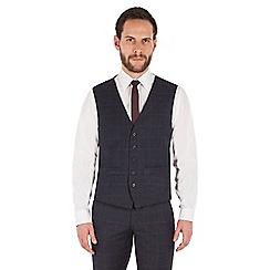 Ben Sherman - Slate blue tonal check wool blend slim fit kings waistcoat