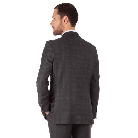 Jeff jacket black regular 2 fit Banks button label Jeff windowpane suit Banks Charcoal front rxrUOpfn