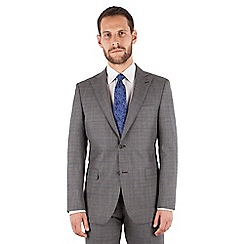 Jeff Banks - Grey with blue check 2 button front regular fit luxury suit