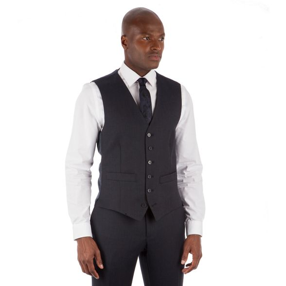 waistcoat semi plain Patrick button amp; Hammond Co Navy by 6 Grant suit tailored fit qtYOF0
