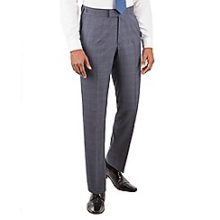 Hammond & Co. by Patrick Grant - Blue flannel check plain front tailored fit savile row suit trousers