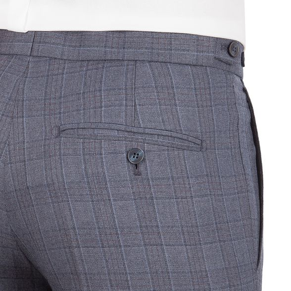 Patrick savile front by suit row flannel check Blue tailored plain trousers amp; fit Grant Hammond Co 4FUTaU