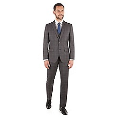 Jeff Banks - Jeff Banks Grey check regular fit 2 button travel suit jacket