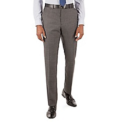 Stvdio by Jeff Banks - Stvdio by Jeff Banks Grey jaspe windowpane flat front ivy league suit trousers