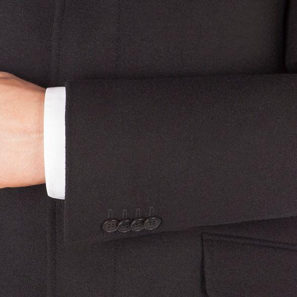 melton Sherman button kings 3 Ben Black overcoat slim fit gFqwZ1
