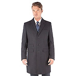 The Collection - Charcoal melton wool blend regular fit overcoat