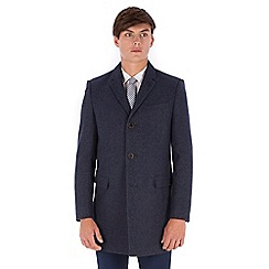 Red Herring - Blue donegal 3 button slim fit overcoat