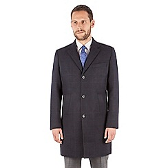 Stvdio by Jeff Banks - Jeff Banks Navy Checked Overcoat