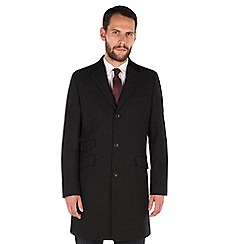Stvdio by Jeff Banks - Jeff Banks Charcoal Wool Blend Overcoat
