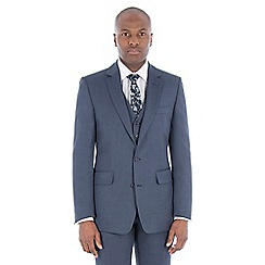 Hammond & Co. by Patrick Grant - Slate blue textured wool blend 2 button front tailored fit st james suit jacket
