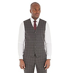Stvdio by Jeff Banks - Grey check tailored fit performance waistcoat