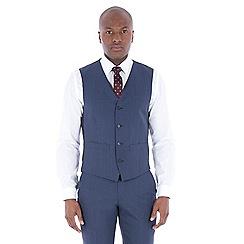 J by Jasper Conran - Blue textured wool blend tailored fit waistcoat