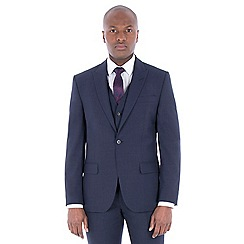 J by Jasper Conran - Navy with rust texture wool blend tailored fit suit jacket