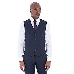 J by Jasper Conran - Navy with rust texture wool blend tailored fit waistcoat