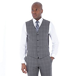 J by Jasper Conran - Grey tonal check wool blend tailored fit waistcoat
