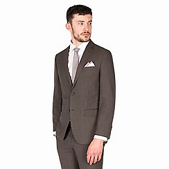 J by Jasper Conran - Brown puppytooth pure wool tailored fit suit jacket