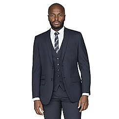 Racing Green - Navy broken check wool blend tailored fit suit jacket