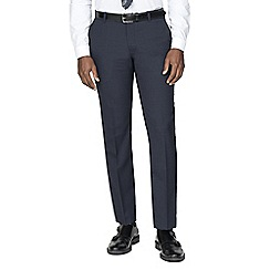Racing Green - Navy broken check wool blend tailored fit suit trouser