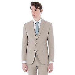 Racing Green - Oatmeal linen wool blend 2 button tailored fit suit jacket