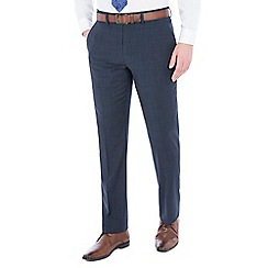 Jeff Banks - Blue check wool blend flat front regular fit travel suit trousers