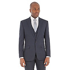 Ben Sherman - Navy broken check wool blend tailored fit suit jacket