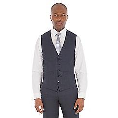 Ben Sherman - Navy borken check wool blend tailored fit waistcoat
