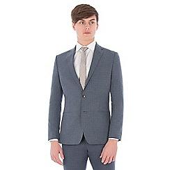 Ben Sherman - Blue broken check linen wool blend slim fit suit jacket
