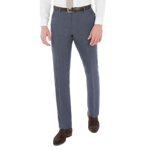 blend check suit Ben Sherman Blue wool slim linen fit trouser broken UqCTqwO