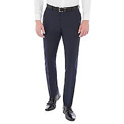 Ben Sherman - Navy blue wool blend gingham slim fit trouser