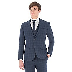 Ben Sherman - Airforce blue wool blend slim fit check suit