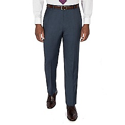 Centaur Big & Tall - Blue semi plain pure wool regular fit suit trouser