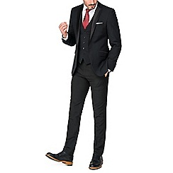 Racing Green - Black with satin wool blend tailored fit dress wear suit