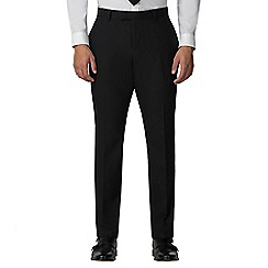 Racing Green - Plain black twill athletic fit trousers