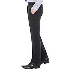 46497_0047870A: Black plain machine washable tailored fit wool blend formal trouser