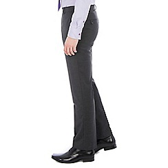 46497_0047872A: Charcoal twill machine washable tailored fit wool blend formal trouser