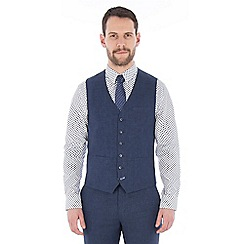 Jeff Banks - Blue pure linen tailored fit waistcoat