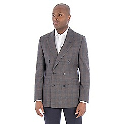 Hammond & Co. by Patrick Grant - Navy brown check pure wool tailored fit double breasted jacket